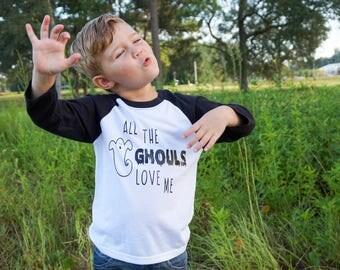 Funny Boys Halloween Shirt , Halloween Baby Shirt , Boys Halloween Raglan, Toddler Boy Halloween Shirts , Boys Ghost Shirts