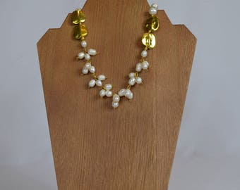 Gold and Freshwater Pearl Necklace