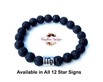 Star Sign Bracelet-Lava Bracelet-Oil Diffuser Bracelet-Essential Oil Diffuser-Beaded Bracelet-Lava Stone Bracelet-Essential Oil Accessories