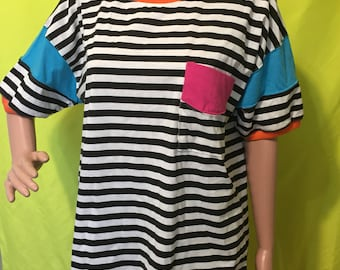 NOS Late 80s/Early 90s Gitano Striped Colorblock Tee, S-L