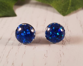 Blue Button Stud Earrings - Hypo-Allergenic Surgical Steel