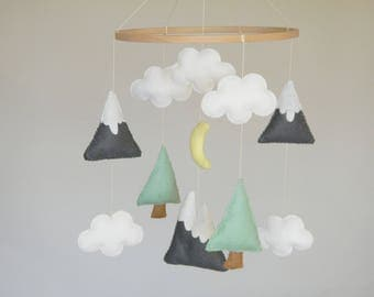 Baby mobile Mountains Baby Mobile Baby Crib Mobile Modern Nursery mobile Felt  Tree Mountain nursery decor Cloud Cot Mobile Mint Gray