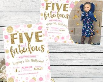 Five & Fabulous 5th Birthday invitation - Girls Pink and Gold glitter ***Digital File*** (Five-FabPolka2017)