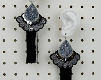 STATEMENT TEXTILE EARRINGS in Black and Silver Glitter. Light weight, oversize earrings, cut from recycled fabric and stitched by hand.