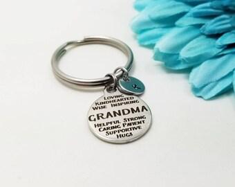 Grandma Keychain - Grandma Key Chain - Initial Keychain - Personalized Keychain - Initial Key Ring - Silver Key Ring - Customized Keychain