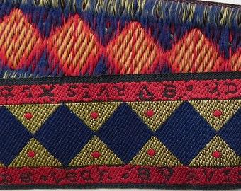 """Jacquard Ribbon Trim   1-1/8"""" wide Woven Jacquard Ribbon Trim Tape   Red~Blue~gold~black"""