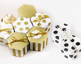 50 sets Hexagonal Gift Boxes - Gold & Black - Wedding Gift Favors, Party Gift Boxes