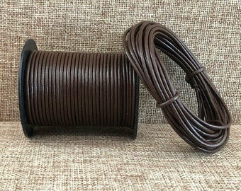 25 Meters 1.5 mm Dark Brown Leather Cord 25 meters (27 yards) 1.5 mm Leather Cord Chocolate Made In India - LCR100-1.5mm