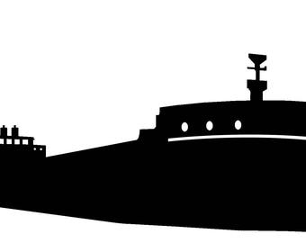 Great Lakes Freighter Decal. White or Black. Boat, Ship, Barge, Sail, Automotive