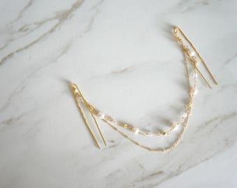Head Chain, Bridal Hair Chain, Pearls Swarovskies, Wedding Hair, Bridal Jewelry, Gold Wedding, Bridal Hair Adornments, Bridal Accessory