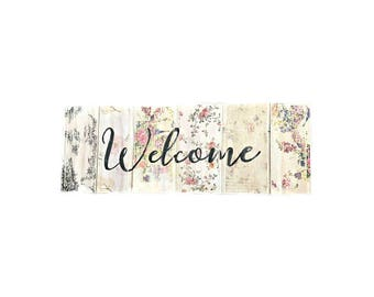 Welcome Sign - Floral Welcome Sign - Wedding Welcome Sign - Welcome Wedding Sign - Outdoor Decor - Porch Sign - Porch Decor - Floral Decor