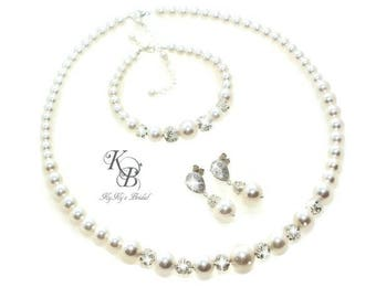 Wedding Jewelry ~ Bridal Jewelry SET ~ Swarovski Pearl Jewelry ~ Pearl and Rhinestone Jewelry SET ~ Pearl Bridal Jewelry ~ Wedding Jewelry