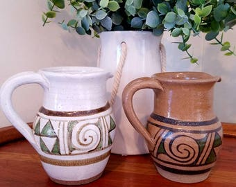 Fabulous Pair of Vintage Pottery Pitchers/Vases - Signed by Artist. California Pottery. Ceramic.