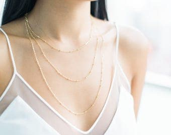 QUINSCO - [ A D D I S O N ] Necklace - Dainty Gold Chain Layering Necklace
