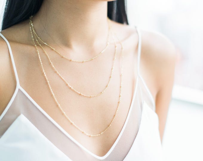 Featured listing image: QUINSCO - [ A D D I S O N ] Necklace - Dainty Gold Chain Layering Necklace
