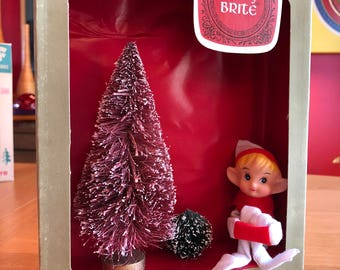 Vintage Christmas Shadow Box / Diorama - Elf with Tree - Shiny Brite