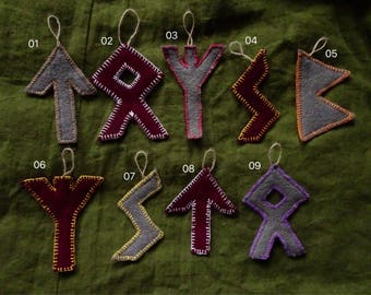 Big Runic Burgundy and Grey Boiled Wool Ornaments / Pagan Futhark Runes for Home Decor & Yule Christmas Tree / Handmade Asatru Embroidered