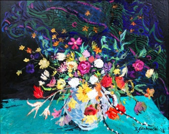 """Floral Bouquet, """"Birthday Bouquet"""" Painting by Ray Sokolowski, Archival Print"""