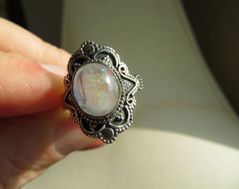 Handcrafted Oval Natural Rainbow Moonstone Gem 925 Sterling Silver Ring Size 6.75, Wt. 3.9