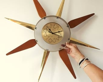 spartus battery operated sunburst wall clock
