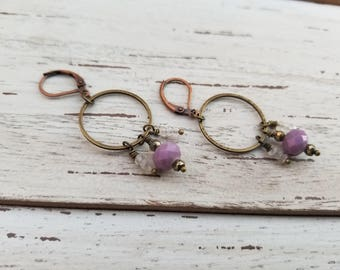 Tiny Moonstone Crystal Earrings with Pink Beaded Accent - Brass Earrings - Crystal Earrings - Semiprecious Earrings