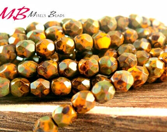 4mm Small 50 pcs Sunflower Yellow Picasso Czech Glass Beads, Faceted Fire Polished