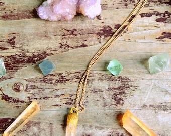 Tangerine Quartz Crystal Point * Pendant Necklace * Gemstone Jewelry * Healing Stones * Earthy * Bohemian