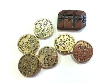 Pirate Collection Assorted Embellishments Treasure Chest Gold Coins Set of 7 Flat Back Brown Gold - 205