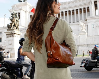 Brown Leather Bag, Convertible Shoulder to Crossbody Women's Purse Handbag, Handmade Leather Bag (1206BROWN)