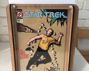 Star Trek Comic Storage Box - Wooden comic box and included 1989 Star Trek #63 comic, gift for husband, boyfriend, son
