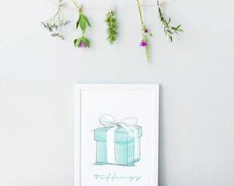 Tiffany & Co Blue Box. Fashion Print. Watercolor artwork. Fashion Illustration. Modern Home Décor.