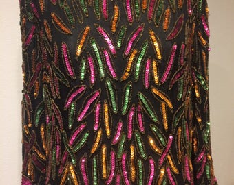 Glamorous Multicolored SEQUINED DILK Top Fully Lined Black Hot Pink Green and Orange  Beaded & Sequined Top XL  Extra Large