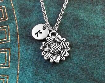 Sunflower Necklace SMALL Sunflower Jewelry Initial Jewelry Bridesmaid Necklace Sunflower Charm Flower Necklace Flower Jewelry Flower Girl
