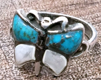 Native American BUTTERFLY Mother of Pearl + Turquoise Sterling Silver Ring Size 6