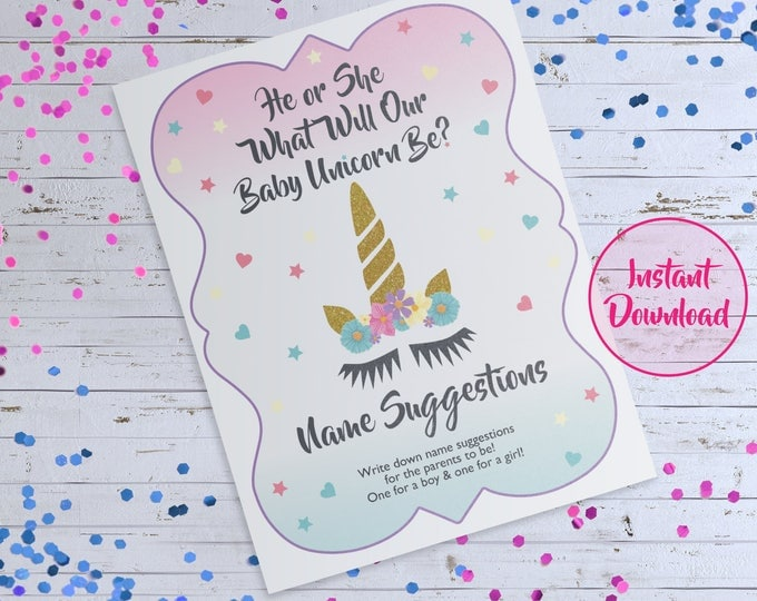 He or She Sign, Baby Name Game, Unicorn Themed Baby Shower, Unicorn Gender Reveal Sign, Name Suggestion Card Game, Gender Reveal