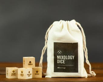 Mixology Dice pouch / Laser engraved wood dice to inspire craft cocktails / Gifts for him, gift for guys, stocking stuffer, bartender gift