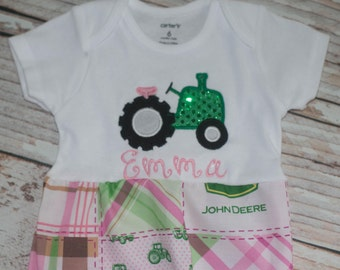 Tractor Personalized Gown for Infants and Babies