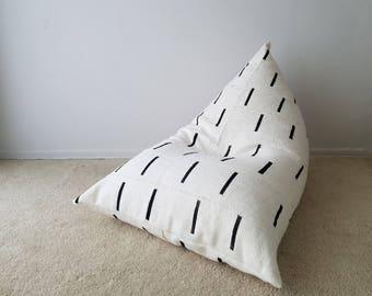 Authentic Mudcloth Boho Lounger®, Mudcloth Pouf, Boho Pouf, White, Cream, Black, Modern, Lines, Geometric