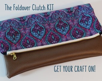 KIT for Foldover Clutch in Blue and Purple