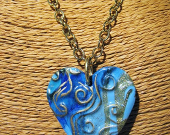 Blue Gold Handmade Clay Heart Necklace, Clay Heart Set