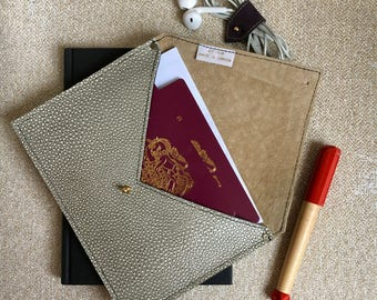 Passport Holder Leather Envelope Wallet | Grey and Nude Leather Passport Cover |Family Travel Wallet Document Holder | 3rd Anniversary Gift