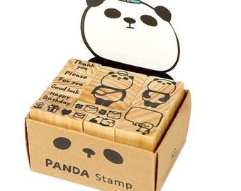 Panda rubber stamp set