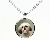 Round  Silver Shih Tzu Photo Pendant Necklace - Shih Tzu Jewelry - Dog Breed Jewelry - Gifts for Her - Dog Gifts - I Love Shih Tzu