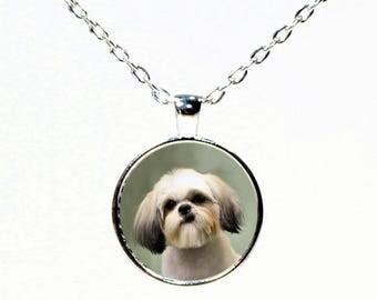 Round  Silver Shih Tzu Photo Pendant Necklace - Shih Tzu Jewelry - Dog Breed Jewelry - Gifts for Her - Dog Gifts - I Love Shih Tzu