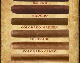 Cigar Art, Cigar Wrapper Colors Chart Cigar Poster Tobacco Print Man Cave Wall Art Home Decor Fathers Day #vi173