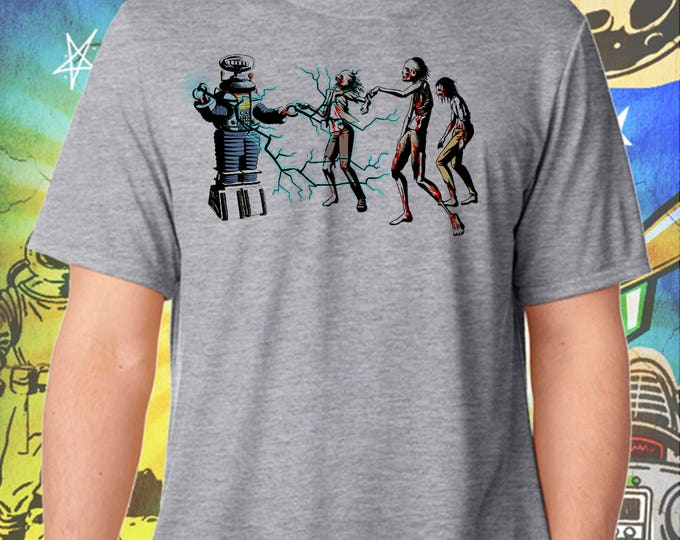 Lost in Space Robot B9 Hates Walking Dead Zombies Gray Men's T-Shirt