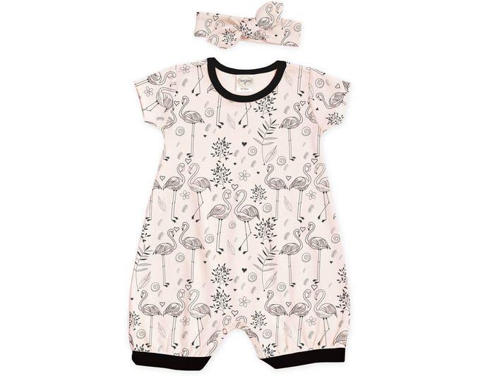 SUMMER SPECIAL! Baby Girl Outfit, Newborn Girl Take Home Romper, Baby Girl Bubble Romper, Pink Flamingo Romper & Headband, RH520FLBK0000