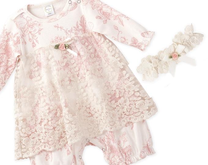 Baby Girl Lace Dress, Newborn Girl Outfit, Baby Girl Skirted Romper Flower Headband, Baby Girl Pink Romper Headband TesaBabe RH54LBGIY0000