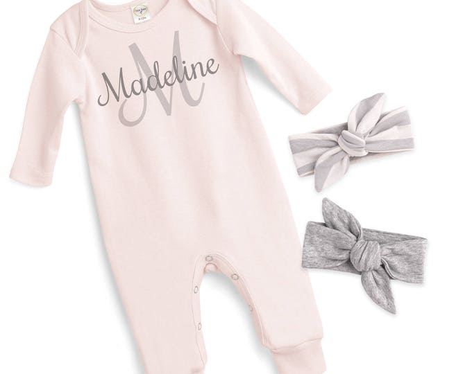Personalized Newborn Girl Outfit, Custome Newborn Girl Coming Home Outfit, Baby Girl Name Romper, Monogram Baby, Tesababe