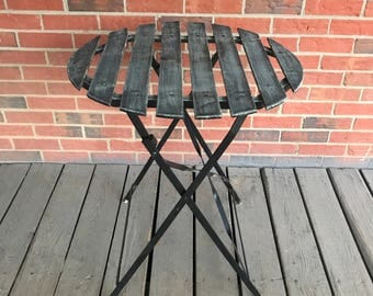 Vintage Folding Bistro Table Wrought Iron Frame Round Slatted Gray Top